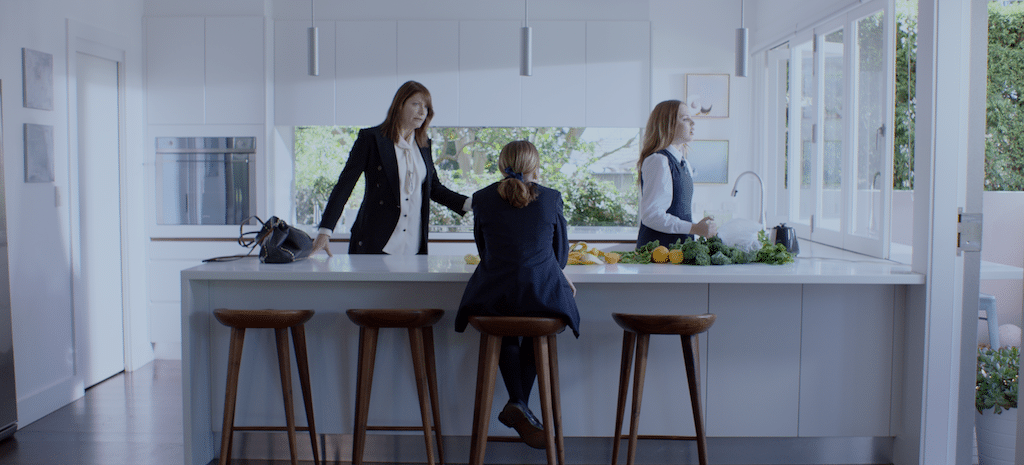Liz (played by Olivia Pigeot, left), Isabella (Milly Alcock) and Genevieve (Odessa Young, right) in HIGH LIFE.