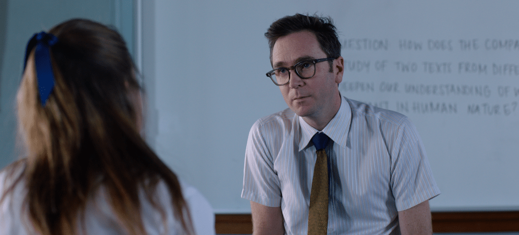 Paul Webster (played by Brendan Donoghue) talks with his student Genevieve (Odessa Young) in HIGH LIFE.